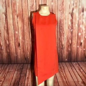 Kenar Hot Coral Asymmetrical Dress